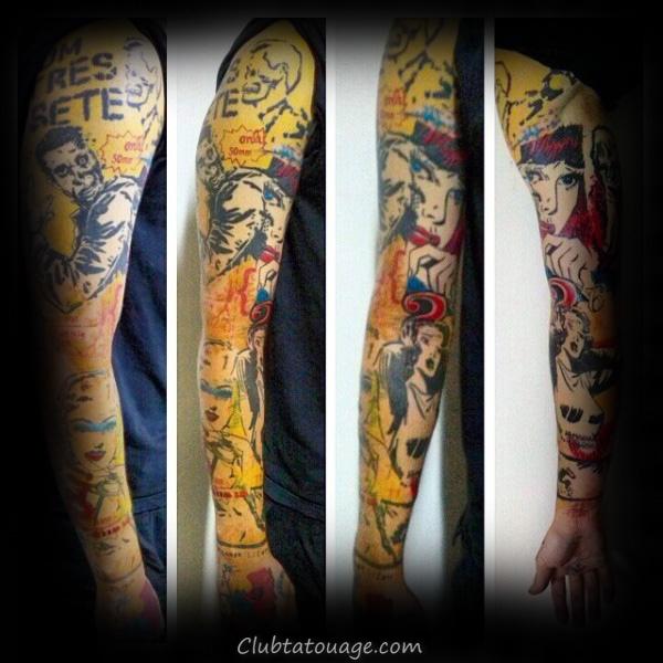 Lips Geometical Tounge Pop Art Guys tatouage sur l'avant-bras