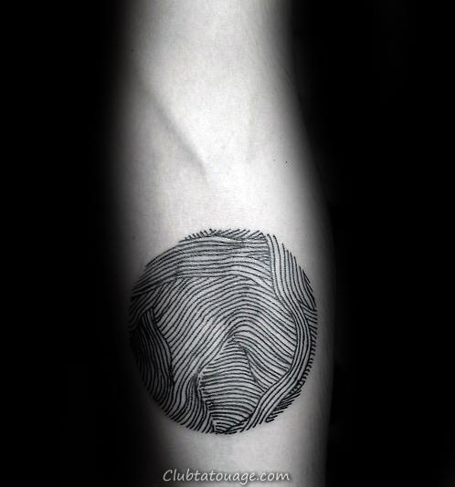 Guys Afrique Fingerprint Inner bras Biceps Tattoo Design Ideas