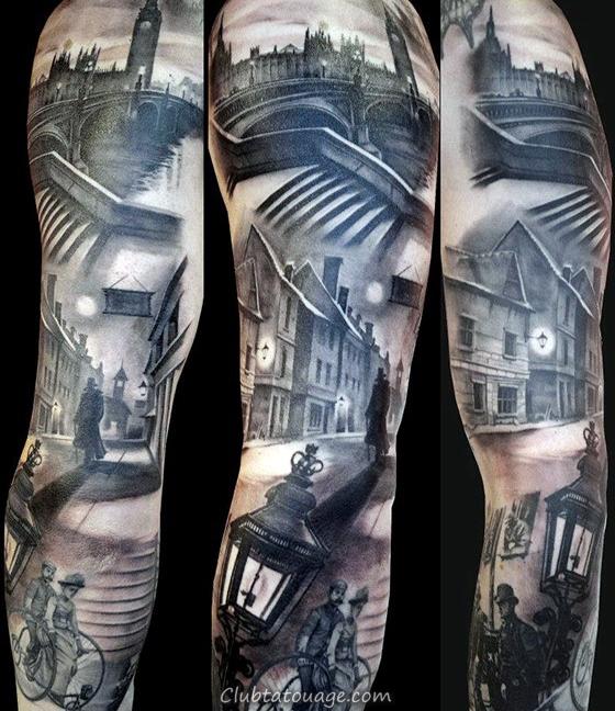 Gentleman Avec Sketched Building Outline Tatouage sur le bras