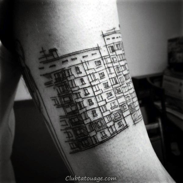 Tattoo Godzilla Building Mens Rib Cage Side Designs
