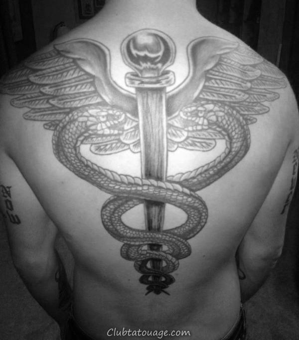 60 Caducée Designs de tatouage pour hommes - Idées Manly encre