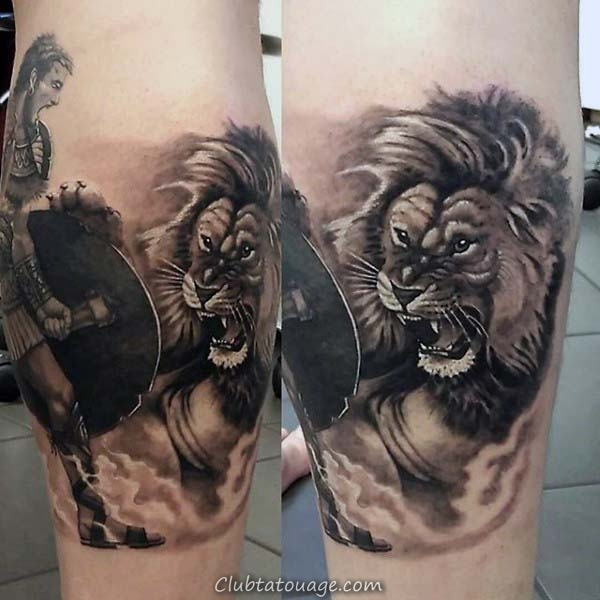 Gladiator Fighting Lion Hommes de Nice Leg Tatouages ​​