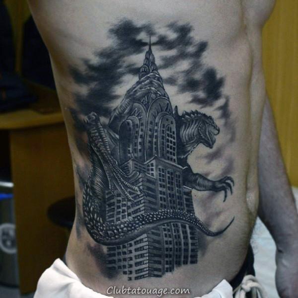 Guy Avec Back Of Leg Building Tattoo