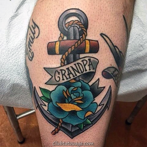 Grand-père traditionnel Anchor Memorial Homme Tatouages ​​Avec Blue Ink Rose Design