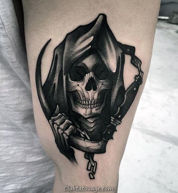 Guys Aucun Dieux Aucun Maîtres Squelette main Leg Calf Tatouages