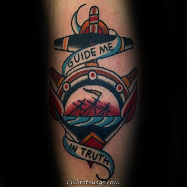 Guide Me In Truth Male Traditional Anchor Ship Tatouages ​​Wheel
