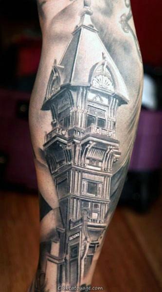 historiques du bâtiment Hommes cuisse Tattoos