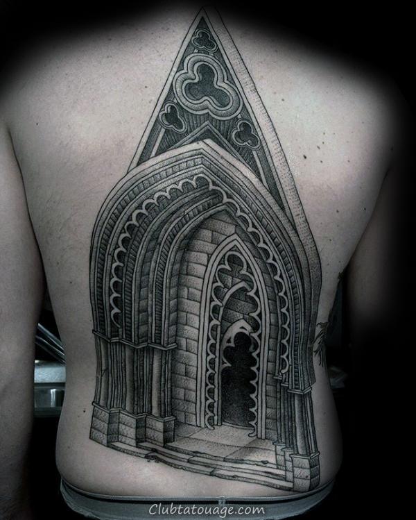 Bâtiment moitié manches architecture Homme Tattoo Designs