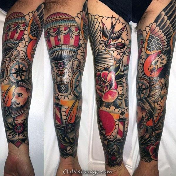Les gars plein bras tatouage manches de Phare nautique traditionnel