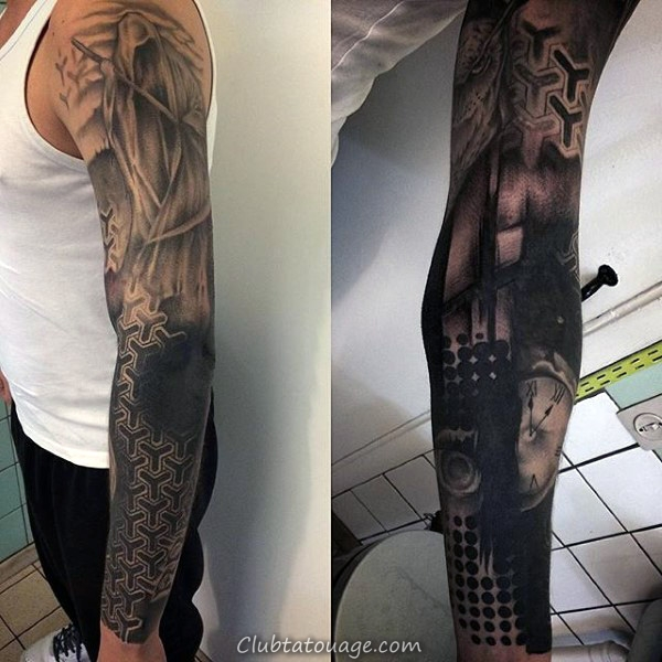 Guys manches complètes doublé Tattoo Black Pattern