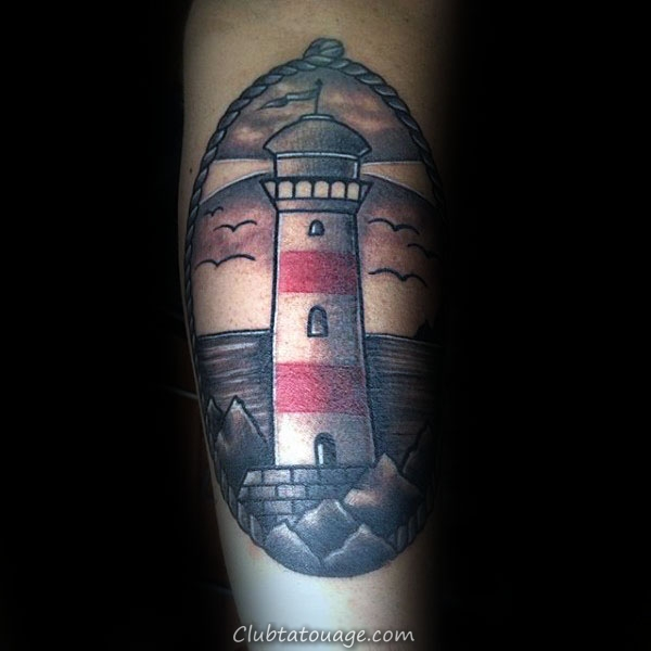 Guys Shaded rouge et gris d'encre traditionnelles Phare intérieures Forearm Tattoos