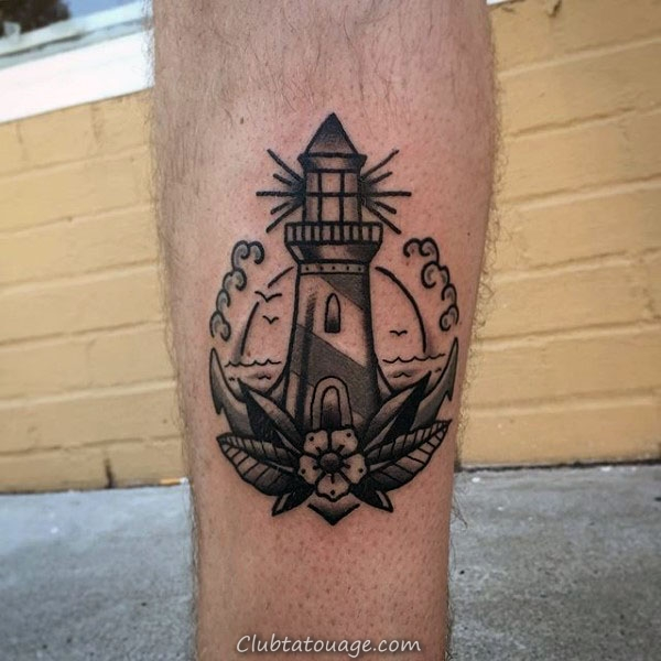 Guys Petit phare traditionnel Simple Lower Leg Image en noir et gris Ink Tattoo Designs