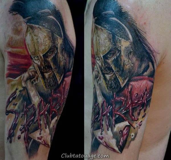 La moitié guerrier manches Avec Spear Mens Shaded noir et encre Tattoo Inspiration