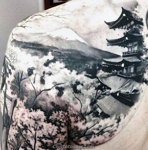 London Building Mens Full Back Tattoos