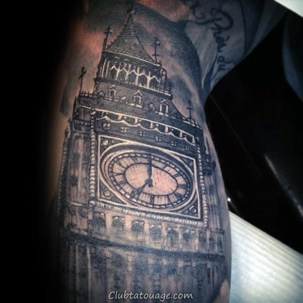 Homme Avec Sunset Skyline Building tatouage Lunettes de soleil