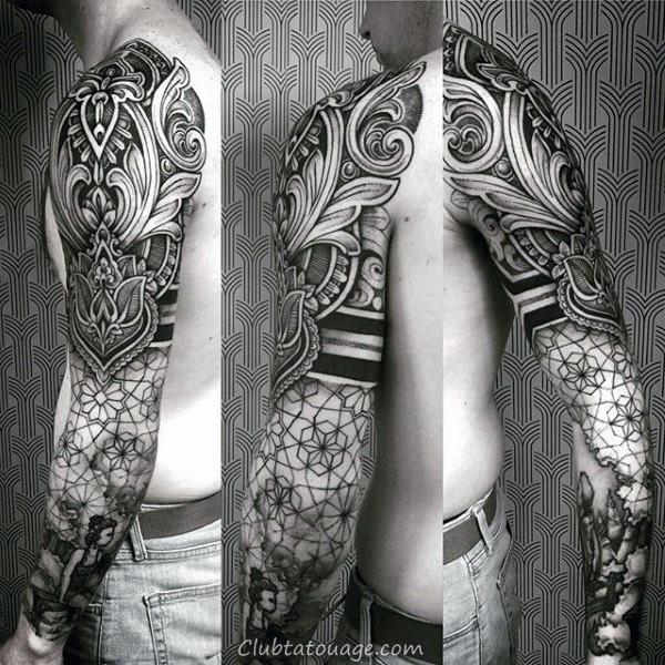 Homme manches complètes Motif fantastique Tattoo