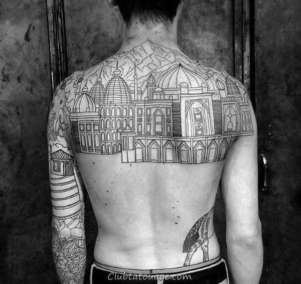 Man Walking Street De Ville Mens Half Building Tattoo Sleeve