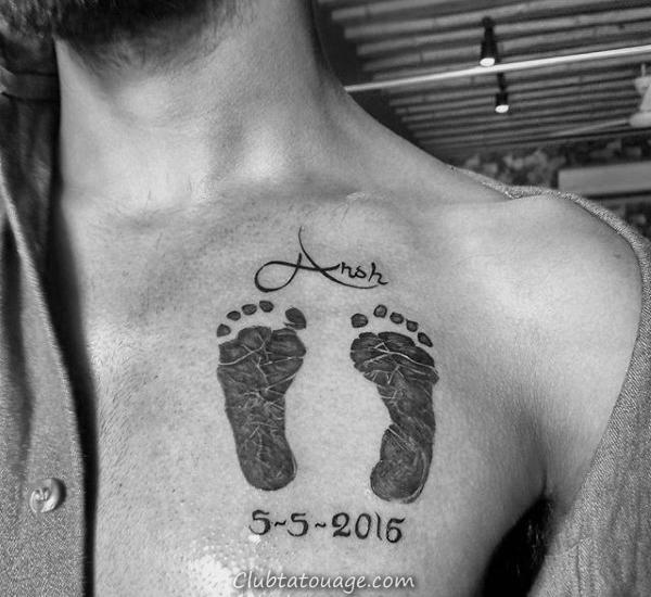 Mens arrière du cou Footprint Tatouages 