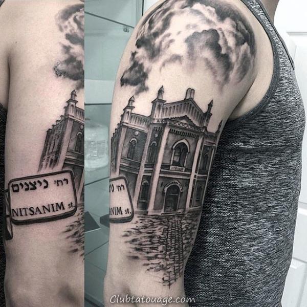 Mens Skyline Cage thoracique Side Building Tattoos