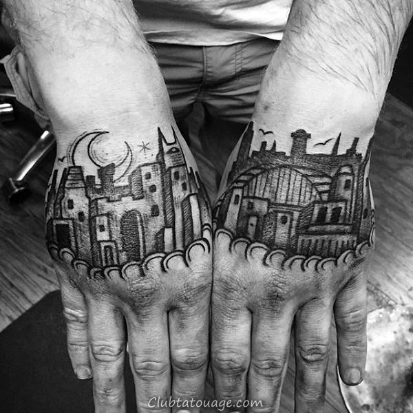 Building Mens Woodcut Avec Flood Et Clouds Tattoo Sleeve Half