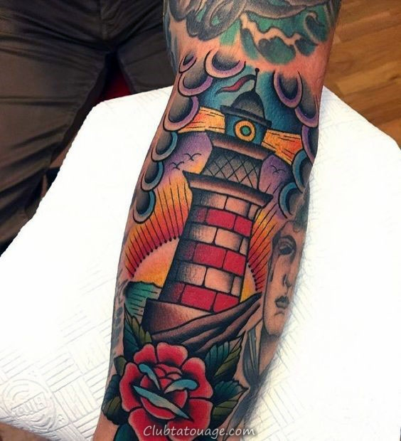 Mens Colorful Lighthouse Tatouages ​​manches traditionnelles