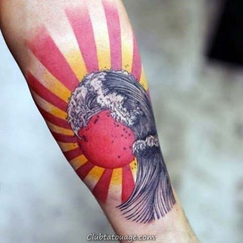 Hommes Inner Forearm Belle japonaise Vague Et Rising Sun Tattoo Designs