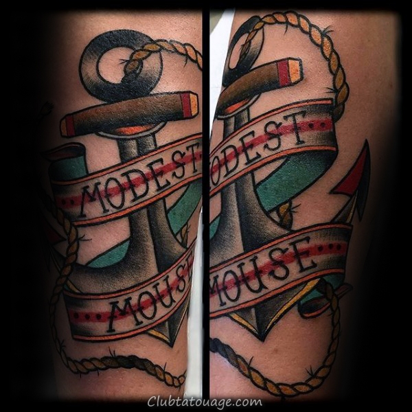 Mens Modest Mouse traditionnelles Anchor Arm Tattoos