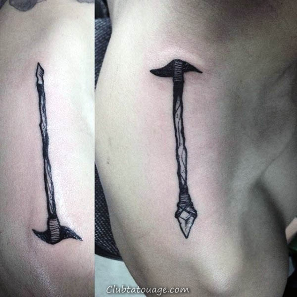 Spartan réaliste Avec Spear Mens Shaded Gris Et Encre Rouge Demi Tatouages manches