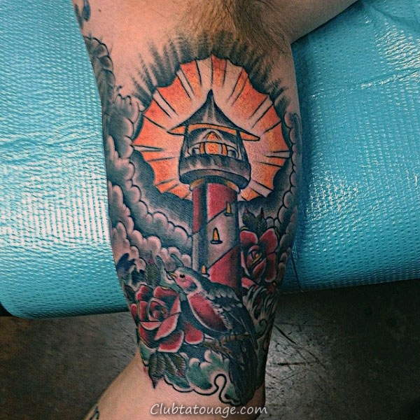 traditionnel Arm Inner Biceps Lighthouse Tattoo Designs Hommes