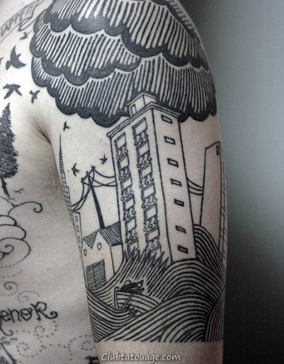 Realistic 3d Empire State Building Tattoo Male