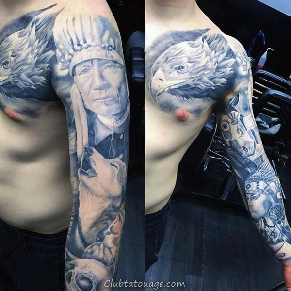 Native American Nice Guys Plein manches Tattoo Ideas