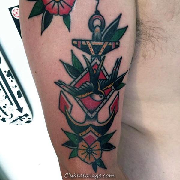 Nautical Themed bateau dans une bouteille pour hommes traditionnels Anchor Arm Tattoos