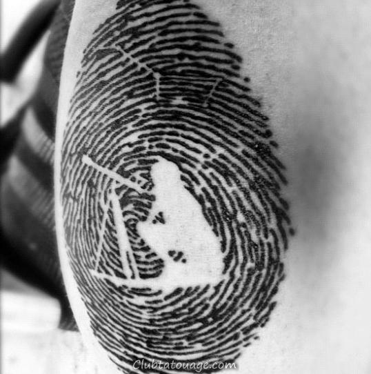 Punisher Fingerprint Hommes Arm Tattoos