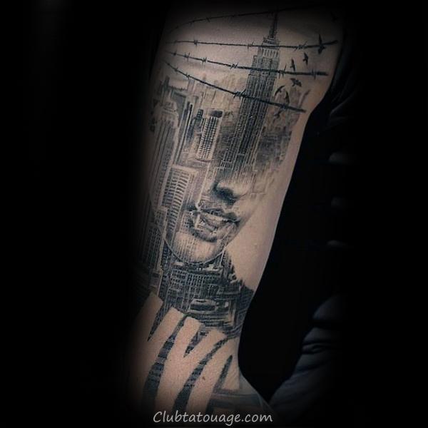 Shaded noir et gris bâtiment encre de Windows Tattoo Male