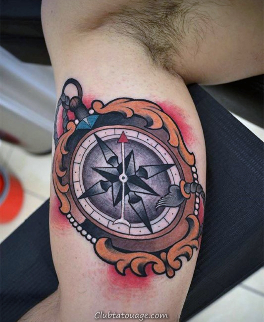 Nice Guys Compass Ornement innner bras biceps Tatouages ​​