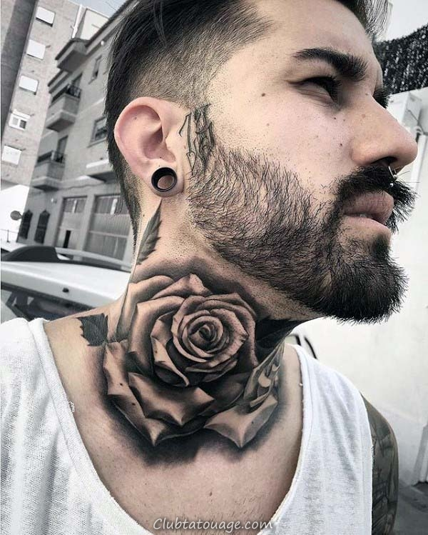 Belles Mens Shaded Rose Neck Tattoos