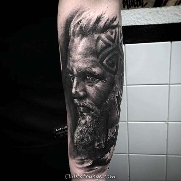 Norse Hommes Portrait Shaded de Nice Forearm Tattoo Sleeve