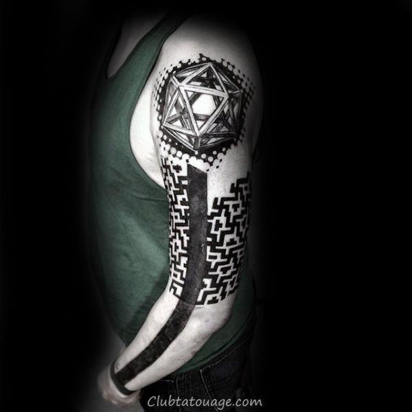 Motif rouge et noir Dotted Tattoo Homme Avant-bras