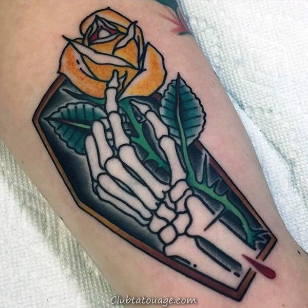 Shaded noir et blanc d'encre de signe de paix Squelette main Hommes Forearm Tattoos