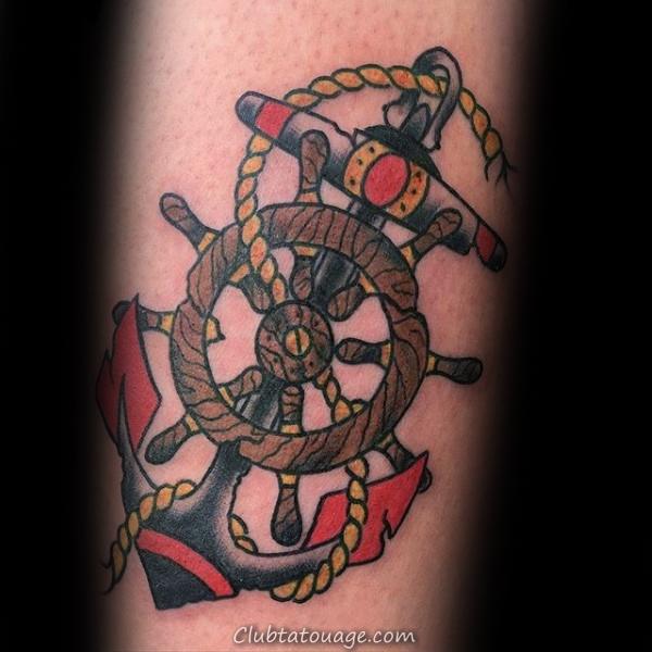 Rope Avec roue de navire et traditionnel Anchor Homme Arm Tattoos