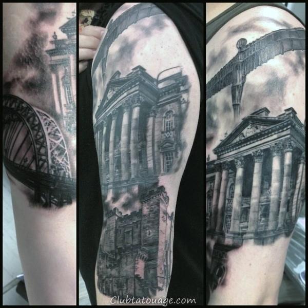 Crâne géométriques du bâtiment Hommes cuisse Tattoos