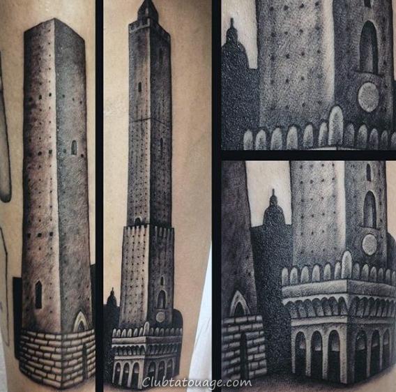 Gratte-ciel esquissés Hommes bâtiment Upper Arm Tattoos