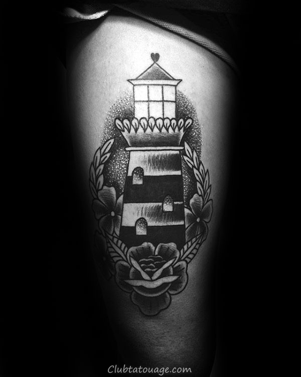 Shaded noir et gris Mens Tattoo Lighthouse traditionnel Inspiration Sur Cuisses