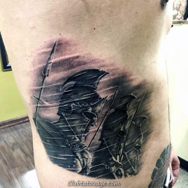 Spears Hommes plein Retour Tattoos