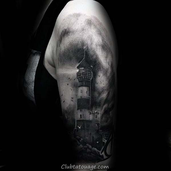 Shaded Aquarelle de Nice Hommes Lighthouse Arm Tattoos