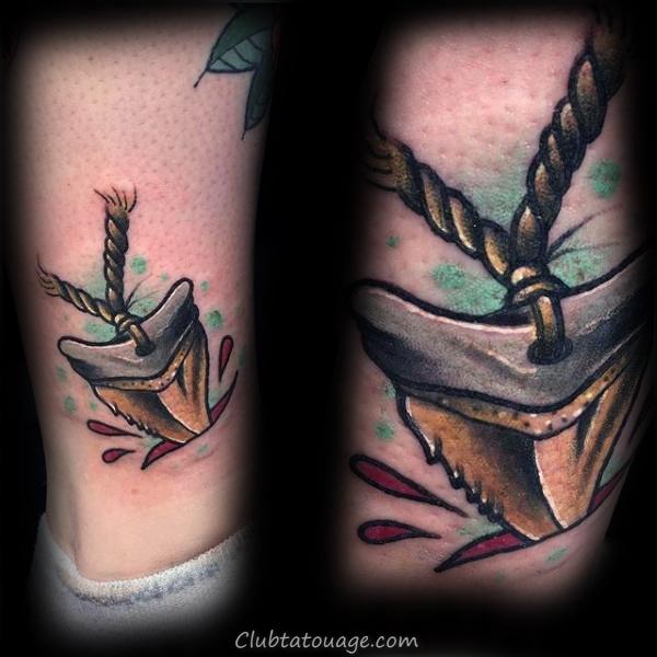 Tooth Shark avec corde Hommes Arm Tattoos