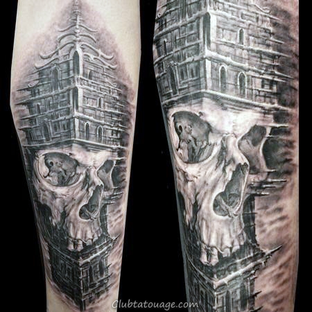 Building Sleeve Avec Glowing Red Skull Tattoos Pour les hommes