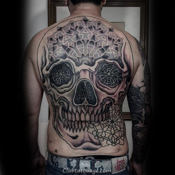Skull Avec Motif floral Tattoo Homme manches
