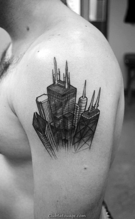 Tiger Avec Building Mens pleine Tattoo Sleeve