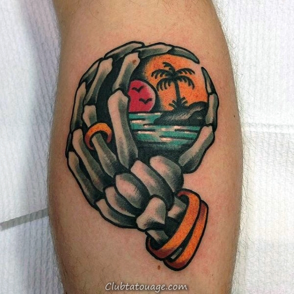 Deux mains Squelette Hommes Forearm Tattoo